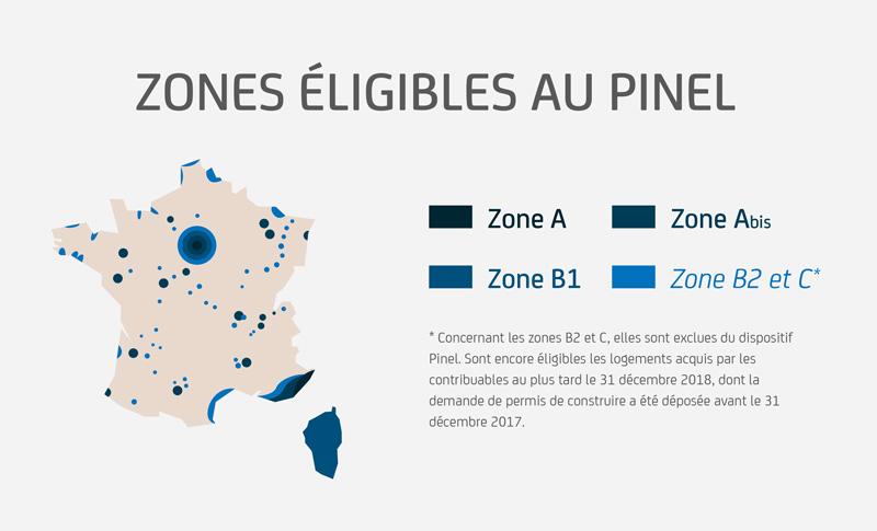 Les zones éligibles à la loi Pinel